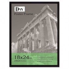 DAX MANUFACTURING INC. Flat Face Wood Poster Frame with clear plastic window, 18 x 24, Black UCP1000