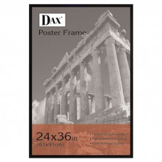 DAX MANUFACTURING INC. Flat Face Wood Poster Frame with clear plastic window, 24 x 36, Black UCP1020