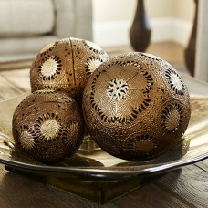 Household Essentials 3 Piece Metal Sunburst Decorative Ball Set HUU2810