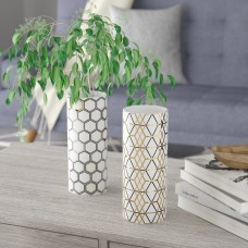 Wrought Studio Renfro Modern Honeycomb and Geometric-Patterned Cylindrical 2 Piece Vase Set VRKG6945