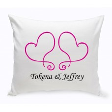 JDS Personalized Gifts Personalized Unity Two Hearts Cotton Throw Pillow JMSI2691