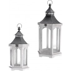 Rosecliff Heights Distressed Outdoor Hanging Wood Lantern ROHE5410