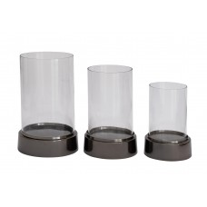 Cole Grey 3 Piece Aluminum and Glass Hurricane Set CLRB1208