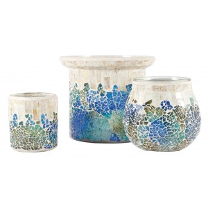 Rosecliff Heights Cool Waters 3 Piece Glass Hurricane Set ROHE4137