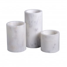 Mercer41 Cylinder Pillar 3 Piece Lady Purple Marble Votive Holder Set MCRF5264