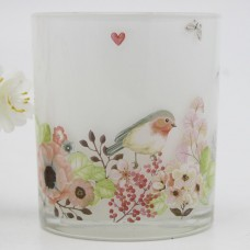 V-MoreInc. Bird and Flowers Decal Frosted Glass Votive VMIN1024