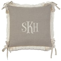 Eastern Accents Sabelle Breeze Monogram Linen Throw Pillow HXF1671