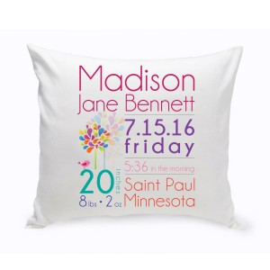 JDS Personalized Gifts Personalized Baby Girl Announcement Cotton Throw Pillow JMSI2671