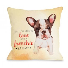 One Bella Casa Personalized Love and A Frenchie Throw Pillow HMW9545