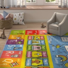 Zoomie Kids Weranna ABC Seasons Months and Days of the Week Educational Learning Blue/Yellow Indoor/Outdoor Area Rug ZMIE4051