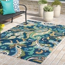 Winston Porter Breann Blue Indoor/Outdoor Area Rug WNPR2599