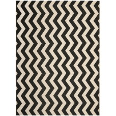 Wrought Studio Jefferson Place Black/Beige Indoor/Outdoor Area Rug VKGL8471