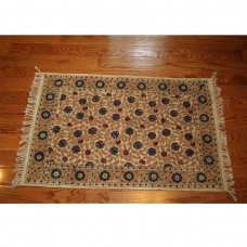 Astoria Grand One-of-a-Kind Joy Dianthus Wheat Block Printed Handmade Dhurrie Cotton Wheat Area Rug GCRX1003