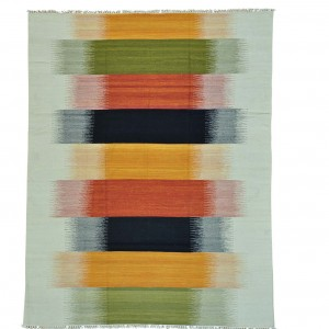 Bloomsbury Market Flat Weave Reversible Durie Kilim Hand-Knotted Black/Orange/Green Area Rug RGRG6698