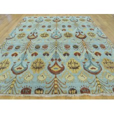 Isabelline One-of-a-Kind Blanco Ikat Hand-Knotted Blue Wool Area Rug OLRG3442