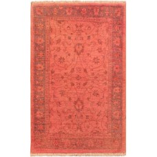 World Menagerie One-of-a-Kind Mcgregor Overdyed Color Reform Hand-Knotted Wool Pink Area Rug AFRU2686